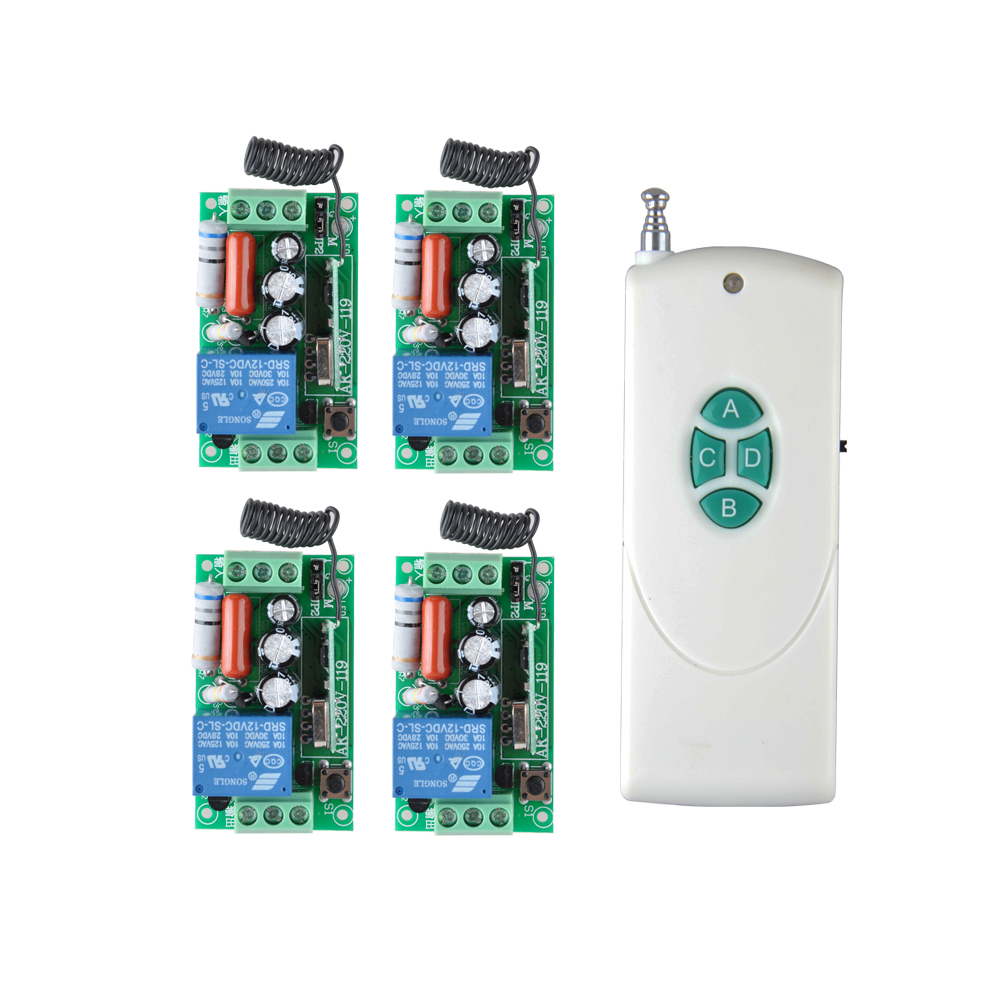 AC 220V 1CH 10A Relay RF Remote Control Switch wireless Light Switch Learning Function Receiver Transmitter COM NO NC