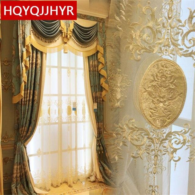 Europese royal high end custom 3D jacquard Verduisterende gordijnen ...