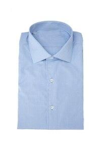 Image 1 - חדש שהגיע 100% כותנה צווארון עם שרוול לחצן פראק כחול ושני קפל בגב camisa masculina