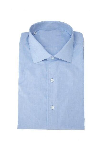 חדש שהגיע 100% כותנה צווארון עם שרוול לחצן פראק כחול ושני קפל בגב camisa masculina