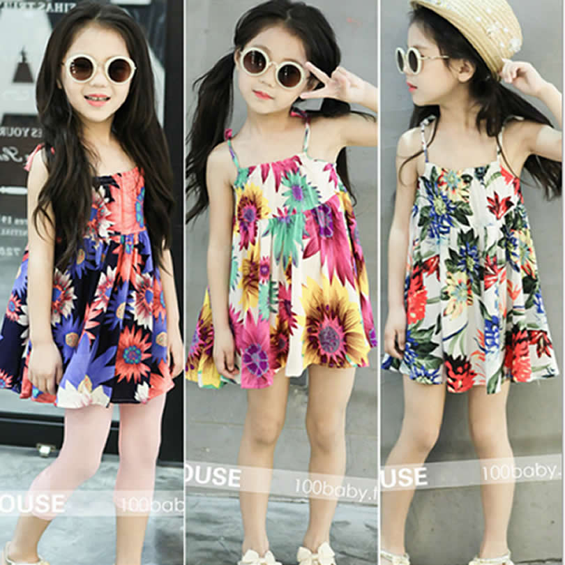 Baby Girls Dress Summer Beach Style Floral Print Party Backless Dresses Toddler Children's Clothing Flowers Cool Dress 3-8Year childrendlor baby brocade floral print