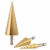 3pcs HSS Titanium Quick Change 1 4 Hex Shank Step Cone Drill Bit Set Hole Cutter