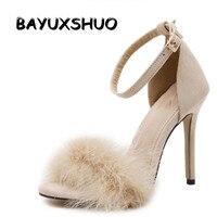 New Vogue Celebrity Brand Desiger Women Sandals Stiletto Feather Hairy Buckle Strap High Heels Bridesmaid Bridal
