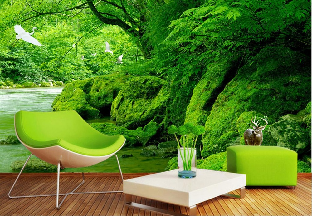 3d Wallpaper Nature Green Forest Creek TV Background