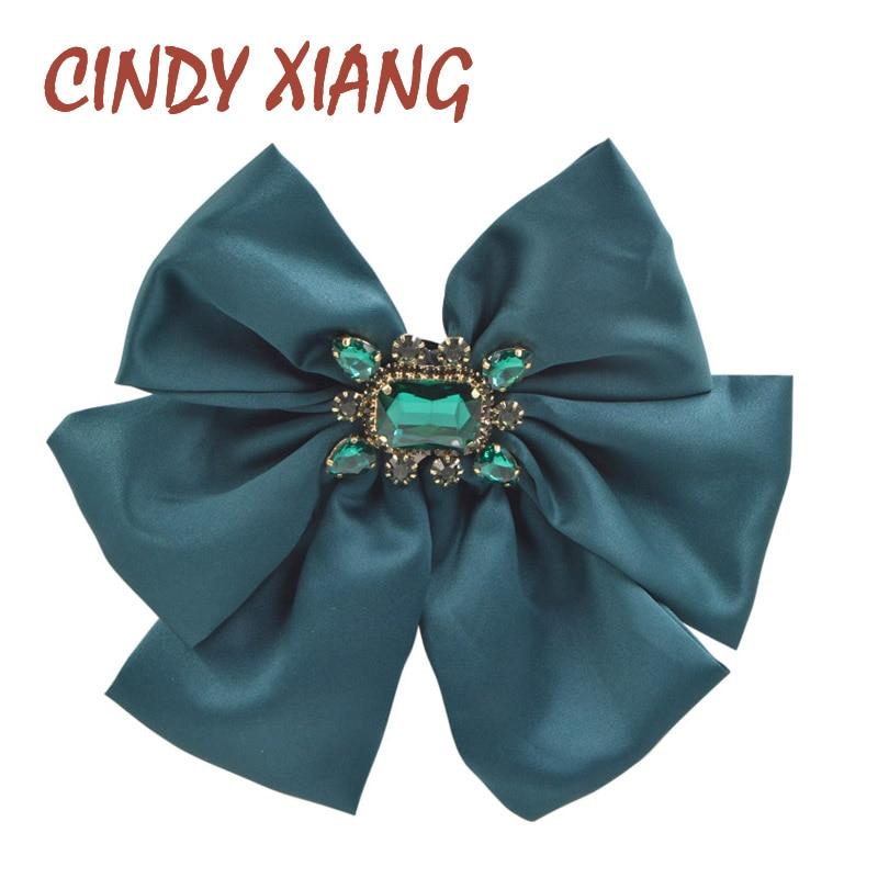 CINDY XIANG Dark Green Color Ribbon Bow Brooches For Women Fashion Crystal Handmade Large Bowknot Brooch Pin Bag Accessories