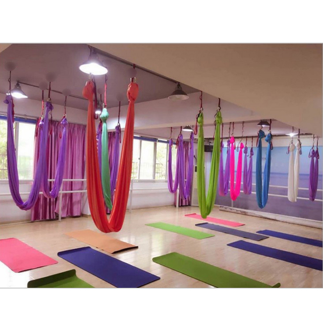 Aerial Flying Yoga Hammock Anti-Gravity Yoga Swing Belts Yoga Fabric Training Equipment For Pilates Body Shaping 5 Meter