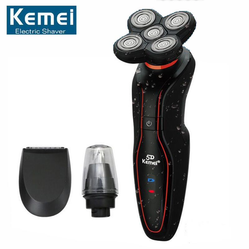 Original KM-6183 Washable 5 Heads Electric Rechargeable Shaver Triple Blade Electric Shaving Razors Men Face Care 5D Floating kemei7000 3 in1 washable rechargeable electric shaver triple blade electric shaving razors men face care 3d floating km 7000