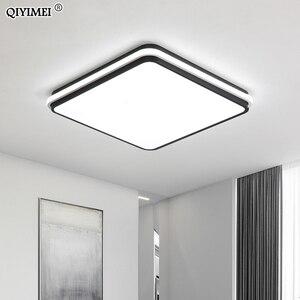Image 4 - 새로운 현대 LED 천장 조명 거실 원격 제어 디 밍 다이닝 룸 침실 화이트와 블랙 조명 조명