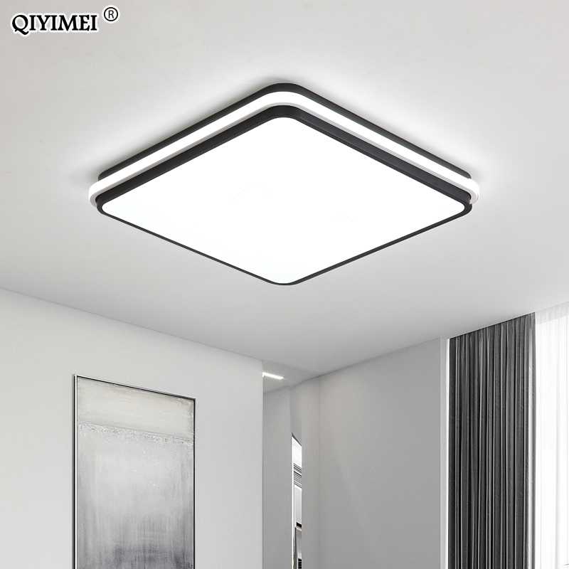Image 4 - New Modern LED Ceiling Lamps For Living Room Remote Control Dimming For Dining Room Bedroom white and black lighting Lights-in Ceiling Lights from Lights & Lighting