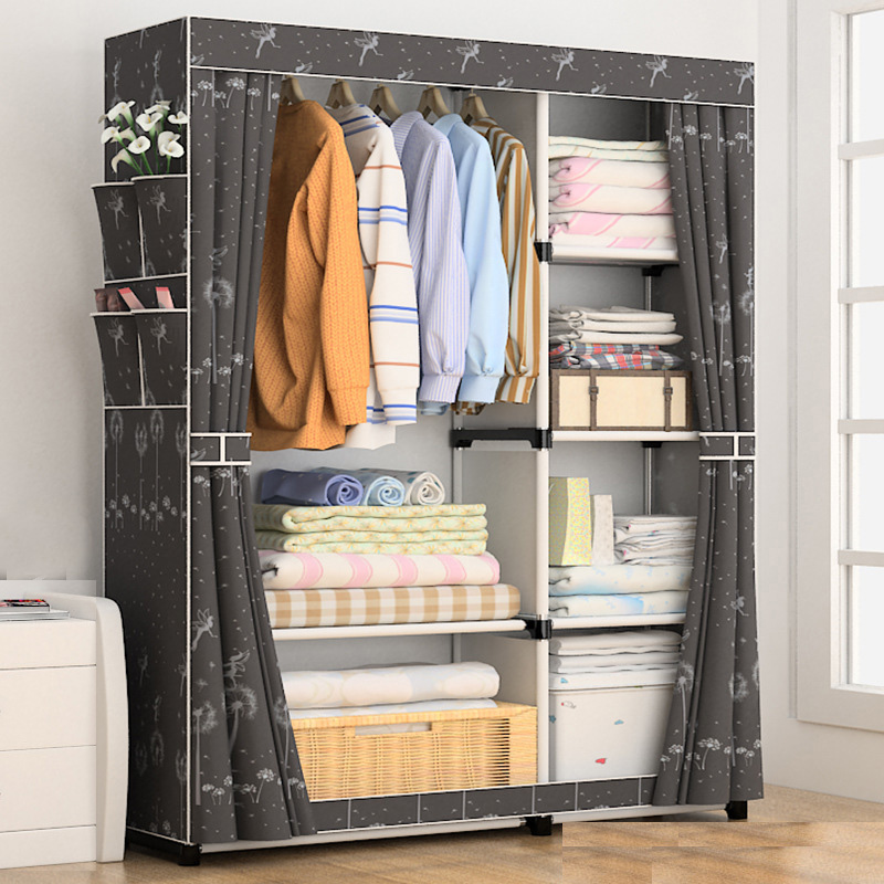 US $51.96 |DIY Simple Curtain portable wardrobe Storage Organizer cupboard  furniture Cabinet bedroom furniture Reinforcement Stowed closet-in ...