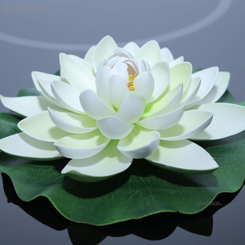 Us 3 19 Bianco Artificiale Falso Foglia Di Loto Fiori Di Giglio Di Acqua Piante Decorazione Di Cerimonia Nuziale Mariage Flores 28 Centimetri Stagni