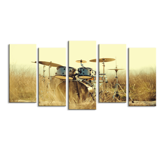 5 pieces high definition print shelf drum canvas oil painting poster ...