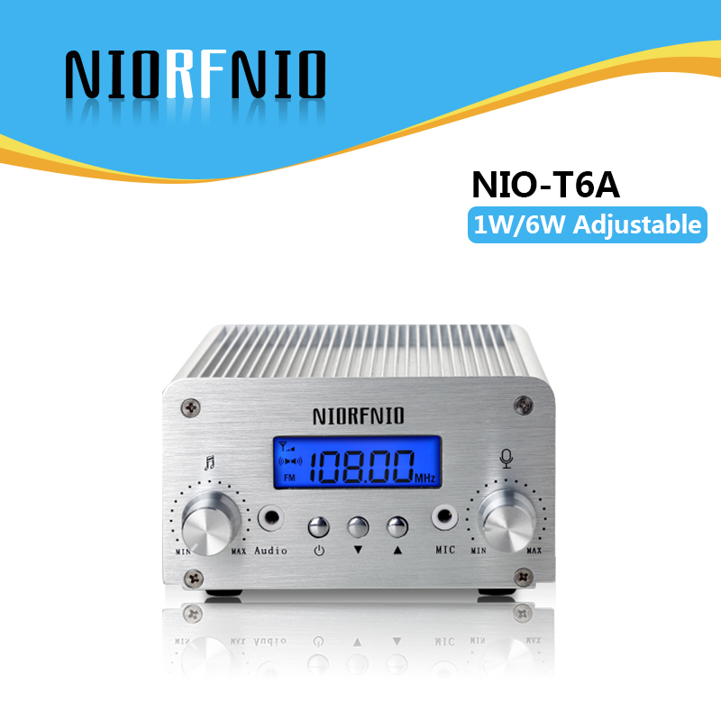 Free Shipping Professional Manufacturer 1W/6W FM Stereo PLL Radio Broadcast Transmitter 76MHz to 108MHz Adjustable free shipping nio t6t 6w professional pll transmissor fm tf card maximum supported 128g