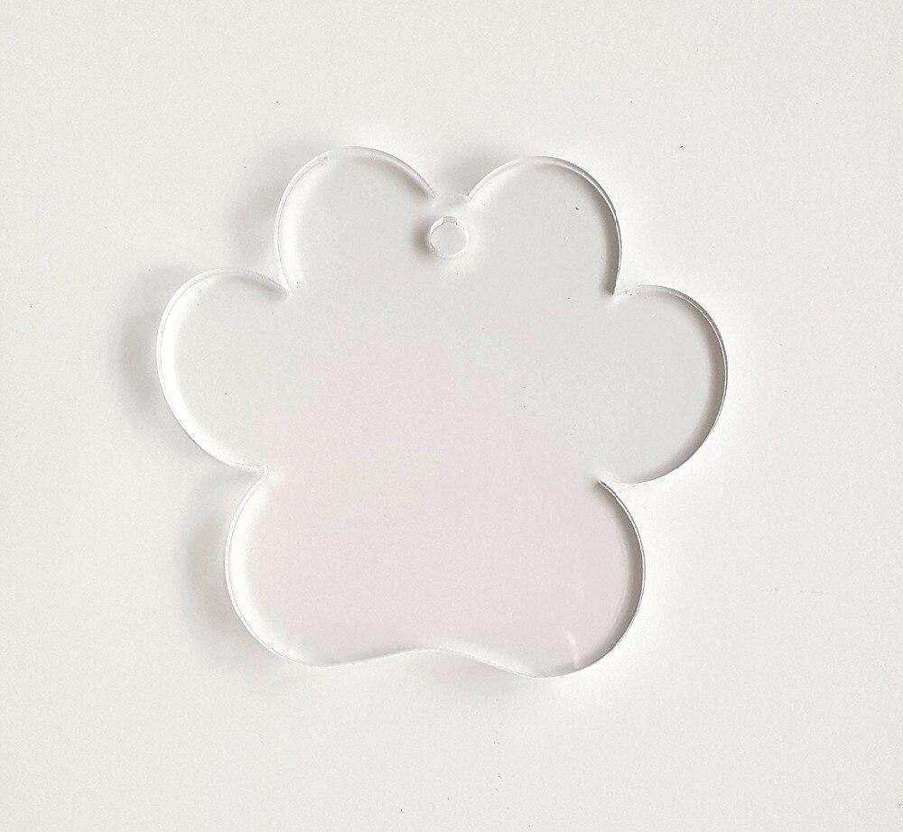 10pcs Of Acrylic Keychains Paw Print Clear Blank 1 8