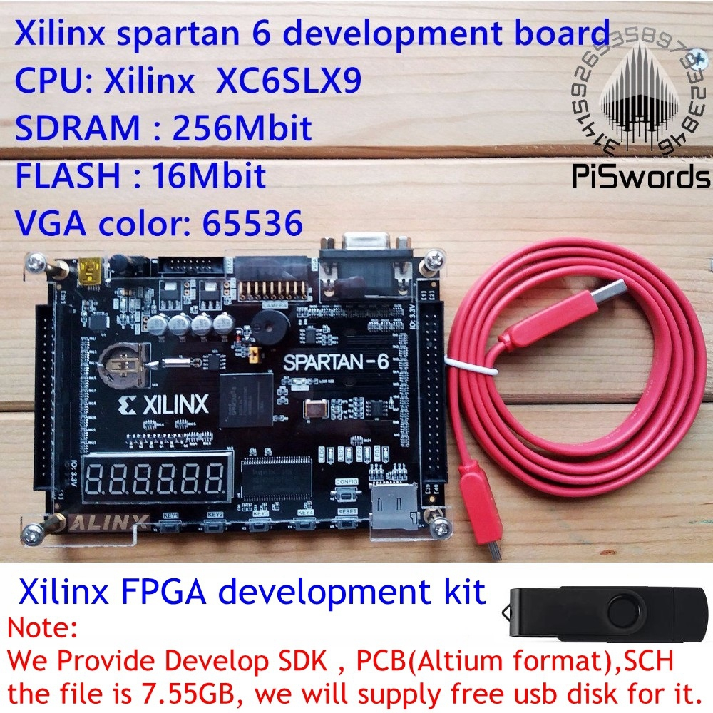 bilder für 2016 Xilinx spartan 6 FPGA entwicklungsboard Xilinx spartan6 XC6SLX9 mit 256 Mb SDRAM EEPROM-sd-karte Kamera VGA