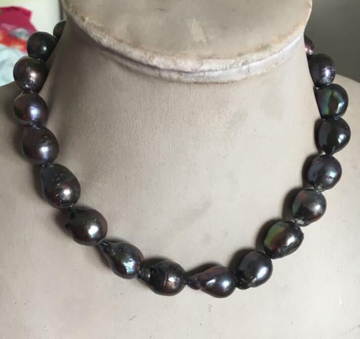 Free Shipping NATURAL HUGE 15-21MM SOUTH SEA GENUINE BLACK BAROQUE PEARL NECKLACE 18 '' цена 2017