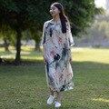 SERENAMENTE 2016 Verão Vestido de Pintura A Tinta Chinesa e Lavar As Mulheres Se Vestem de Fadas Vestidos De Seda Do Vintage O Pescoço Vestidos de Festa S81