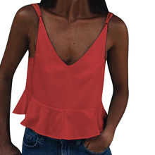 summer casual Basic section women t-shirt Women's Solid Color Sling Sexy Deep V-Neck Sling Top T-Shirt ropa verano mujer 2019(China)