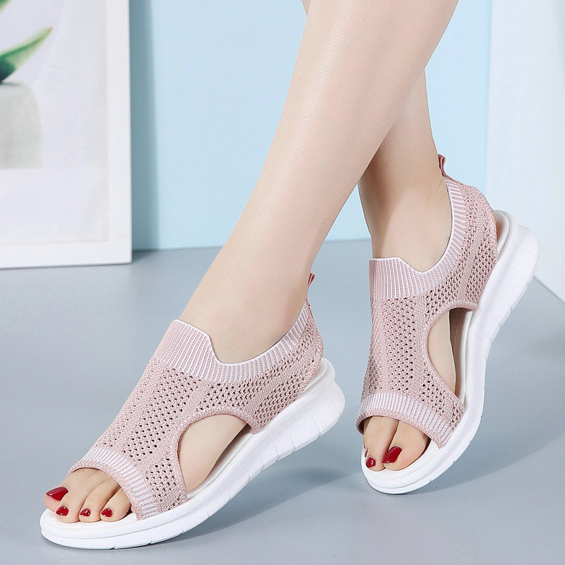 Summer 2019 New Female Fashion Shoes Women's Wedge Sandals Slip-on Breathable Comfort Beach Shoes  Size 35-42