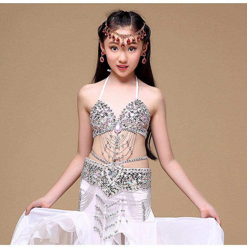 2019 nouveaux Costumes de danse du ventre pour enfants de haute qualité 6 couleurs tenue de danse du ventre pour filles vêtements de Costume (soutien-gorge + ceinture + robe) 3 pièces/ensemble
