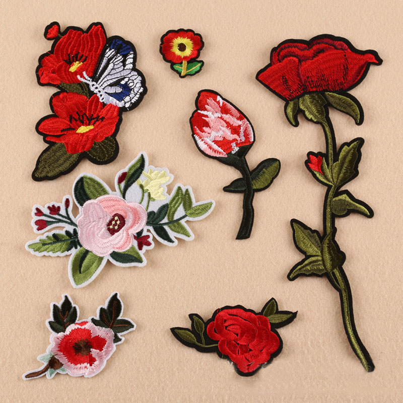 New Computer embroidery cloth spot wholesale rose badge patch stickers factory direct