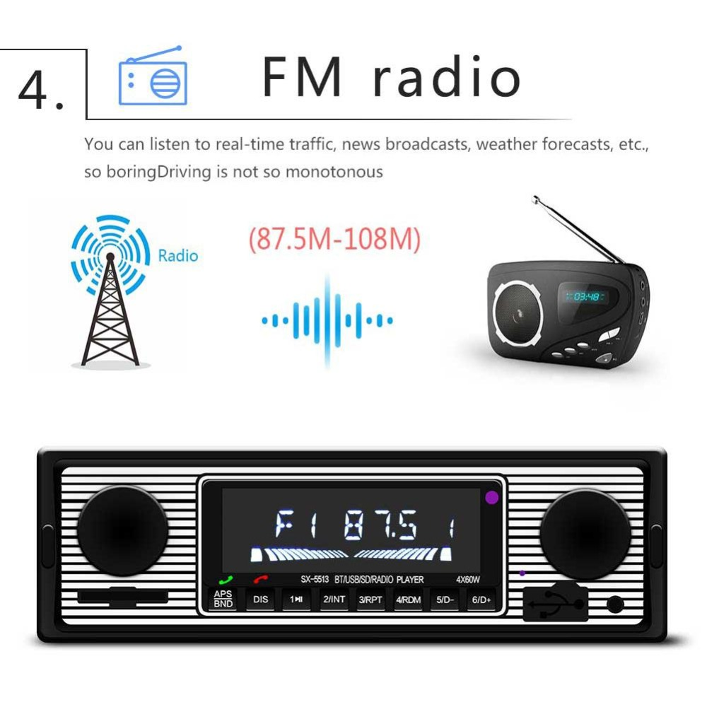 Adeeing Auto Car Radio Bluetooth Vintage Wireless MP3 Multimedia Player AUX USB FM 12V Classic Stereo Audio Player Car Electric 5