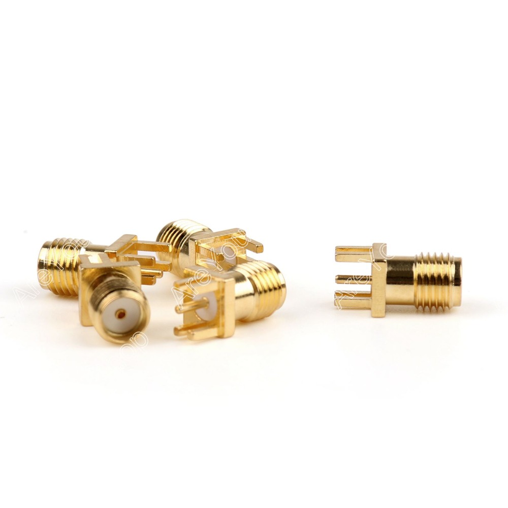 Areyourshop Hot Sale 100 Pcs Gold SMA Female Nut Bulkhead Solder Deck PCB Clip Edge Mount RF Connector Adapter