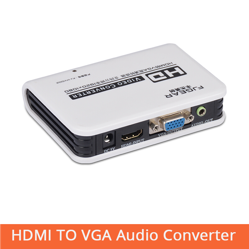 HDMI To VGA Converter Box  Audio Adapter RCA 3.5mm Stereo Audio Output Notebook To Projector With Power FJ-HV002