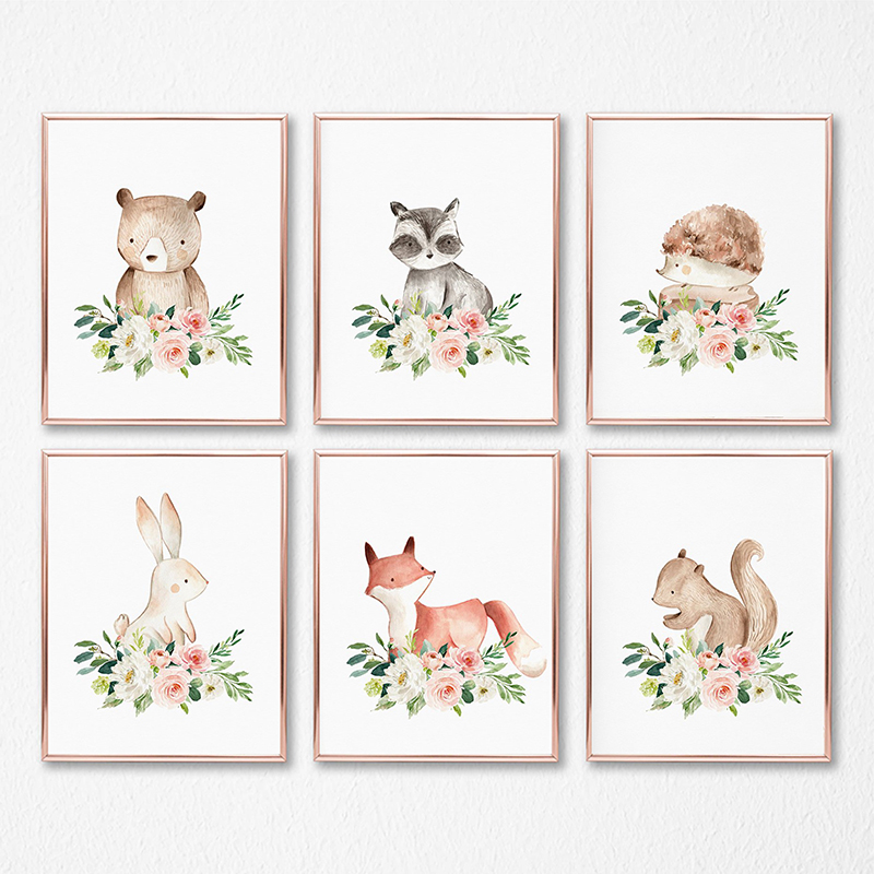 Woodland Animals Nursery Wall Art Canvas Posters Print Watercolor Blush Pink Flower Painting Pictures Baby Girls Room Decoration