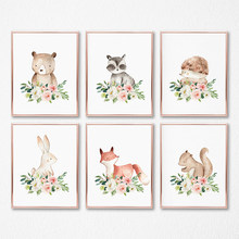 Woodland Animals Nursery Wall Art Canvas Posters Print Watercolor Blush Pink Flower Painting Pictures Baby Girls Room Decoration(China)