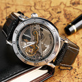 Luxury Brand TIEDAN Mechanical Watch Men Skeleton Automatic Business Skeleton Wristwatches Self-Winding Genuine Leaher strap