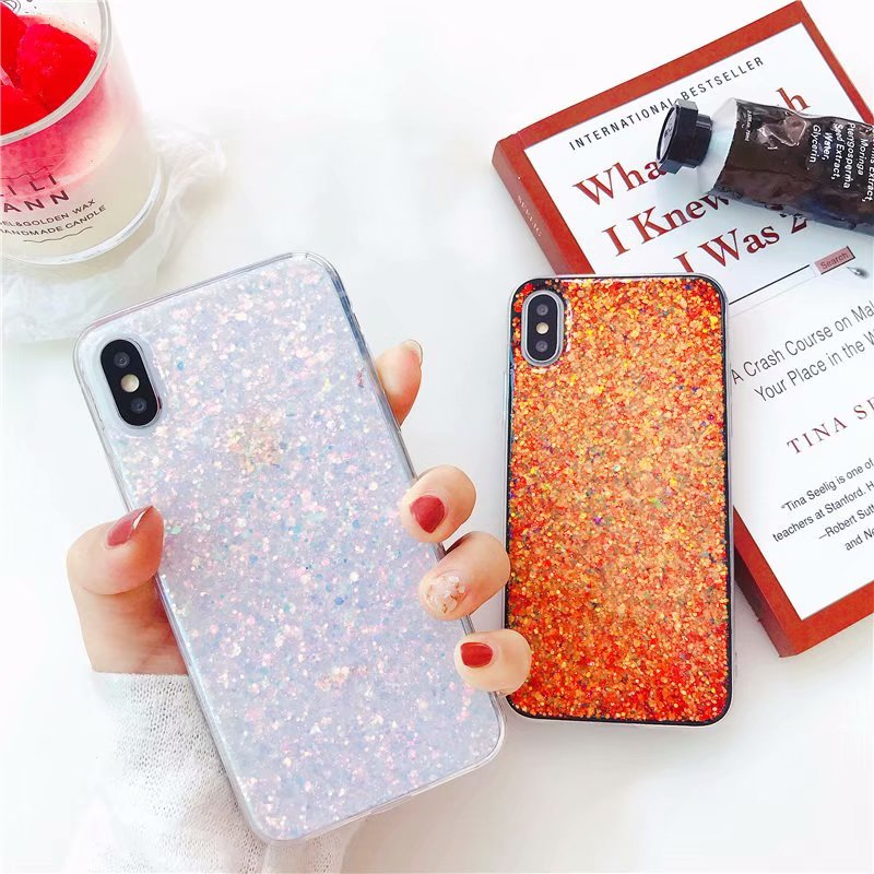 Color Gradient Phone Case For iPhone 6 6S Case Silicon Bling Glitter Crystal Sequins Soft TPU Cover Fundas For iPhone X 7 8 Plus
