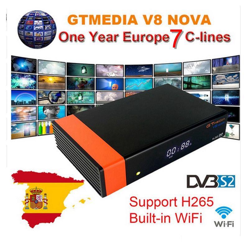 Receptor GTMedia V8 Nova Full HD Receptor de Satélite DVB-S2 1 Ano Europa Cccam Cline Freesat V9 Super Atualização De Freesat v8