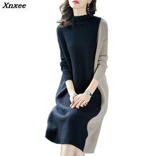Europe Women 2018 Autumn Winter Stitching Fashion Long Sleeve Dress Female Half Turtleneck Knee-Length Knitted  Xnxee