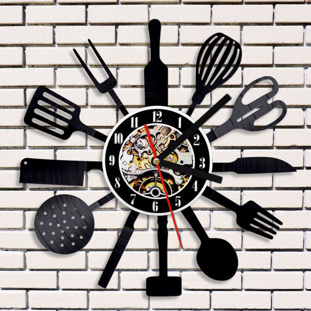 Creative Vinyl Wall Clock Modern Design Kitchen Time Clocks Black 3D  Decorative Vintage Classic CD Record
