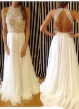 2015 Sexy Evening Dresses Fashion Vestidos Summer Gowns High Neck Crystal Beaded White Chiffon Backless