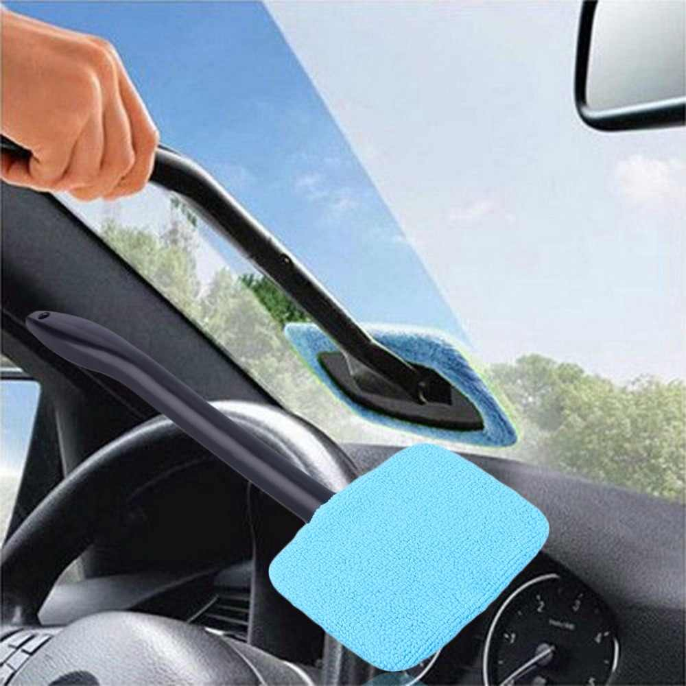new  Plastic Windshield Cleaner Microfiber Auto Window Cleaner Long Handle Brushes Sponges Handy Washable Car Cleaning Tool