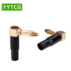 Image 2 - YYTCG 8Pcs Right Angle 90 Degree 4mm Banana Plug Screw L Type for Binding Post Amplifiers Video Speaker Adapter Connector