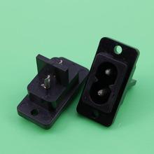 цена на 1 Pcs Black 2 Pins IEC320 C8 AC Power Socket Connector AC 250V 6A