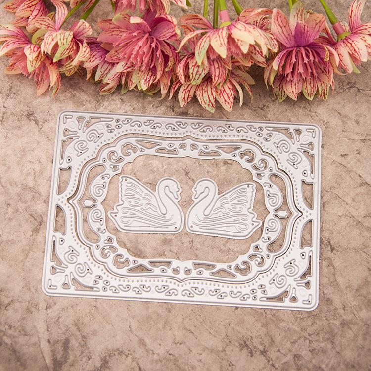 vintage frame&couple swan 4pcs/set card metal cutting stencils for SCARPBOOKING dies diy carbon steel oval frame cutting dies