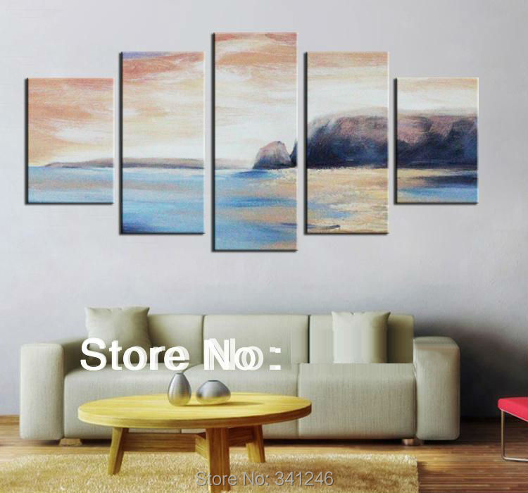 Hand painted big size modern wall art home decor living room abstract seascape Brown sky blue ocean oil painting on canvas frame-in Painting u0026 Calligraphy ... & Hand painted big size modern wall art home decor living room ...