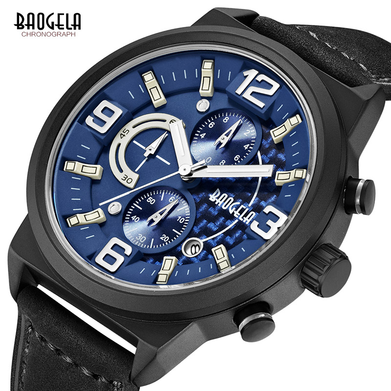 Baogela heren chronograaf quartz horloges casual lederen band analoge - Herenhorloges