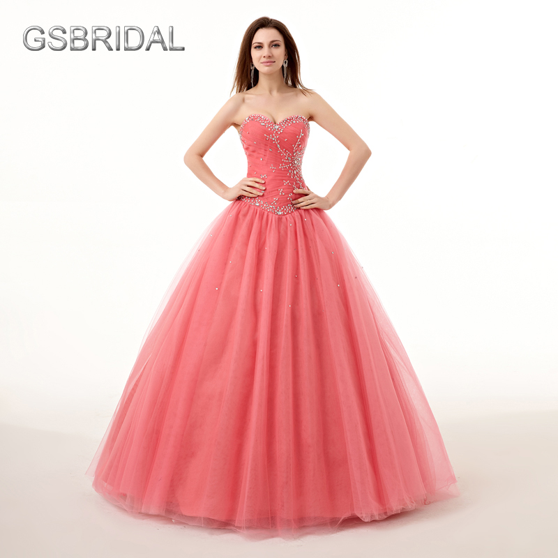 GSBRIDAL Strapless Sweetheart Ball Gown Beads Quinceanera Dresses ...