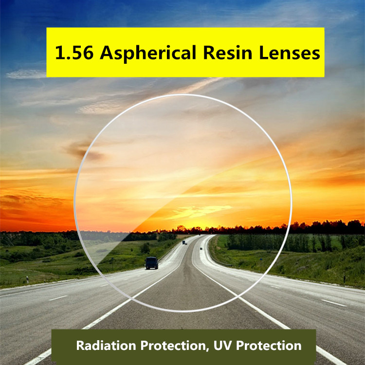 1.56 Index Aspheric Prescription Lens CR-39 Myopia Presbyopia Lens Hard UV Protection Glasses Lens Anti-Radiation 2 PCS