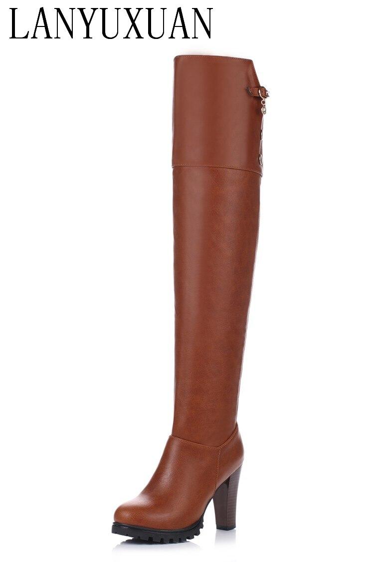 78881487324 Cheap Talla grande 34 45 2017 invierno nuevas botas de tacón alto ocio  elegantes tacones Sexy