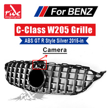 W205 Front grille Without central Logo For MercedesMB C-class C180 C200 C250 C300 ABS GT R Style Tape camera silver grills 15-in