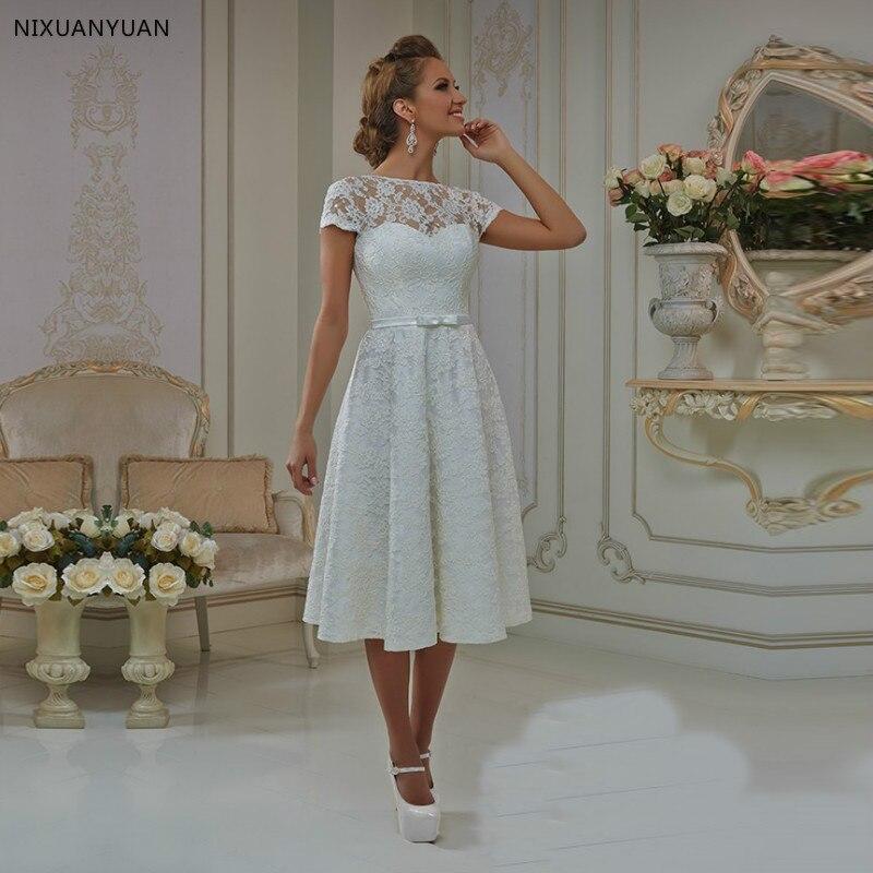 Vestidos Casamento 2020 Short Wedding Dress With Cap Sleeves A Line Tea Length Bow Sashes Lace Robe De Mariee Retro Women Dress