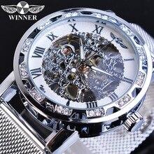 זוכה גברים מכאני שעון כסף קריסטל רשת פלדת רצועת אוטומטי שעוני יוקרה שעוני יד עסקי ספורט Relogio Masculino
