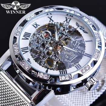 Winner Men Mechanical Watch Silver Crystal Mesh Steel Strap Automatic Watches Luxury Wristwatch Business Sport Relogio Masculino loreo luxury men watch business men s mechanical watches self winding men sport water wristwatch relogio automatico masculino