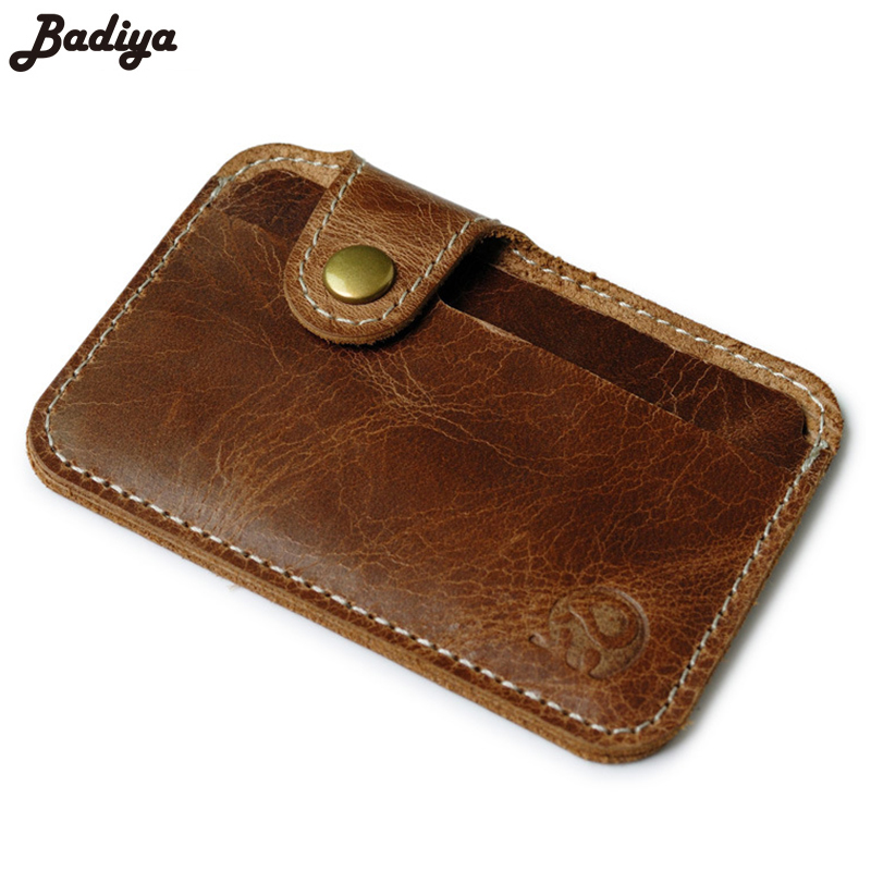 Ultra Thin 2 Slots  Genuine Leather Credit Card Holder High Quality Cow Leather Hasp Card Holder